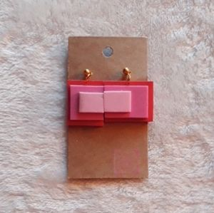 Red & Pink Square/Rectangle Felt Earrings